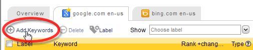De bulk importeer zoekwoorden knop vind je boven elk grid met zoekwoorden