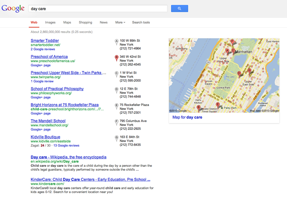 A search for day care -  local result Google Manhattan