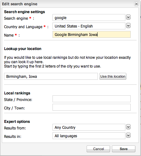 seoeffect set local search engine profile