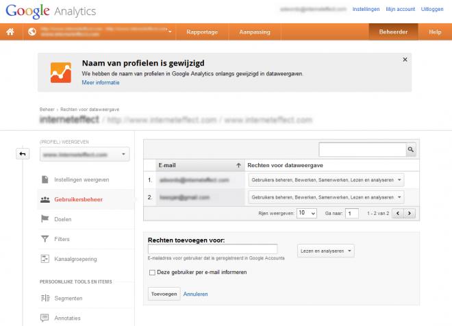 Google analytics: als je 'beheer' rechten hebt kun je in 1 moeite door WMT koppelen