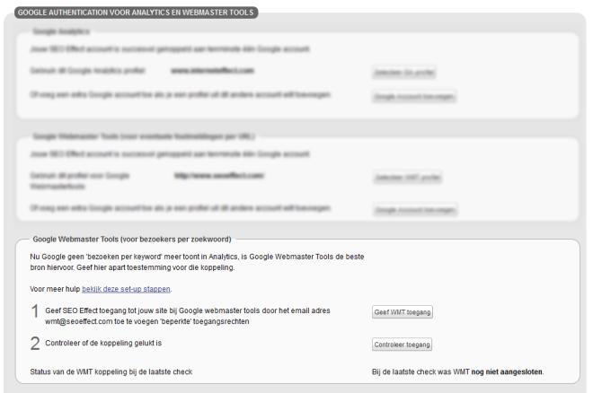 Google webmaster tools koppelen aan seoeffect voor verkeersdata