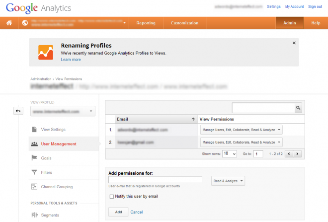 Google Analytics - permission