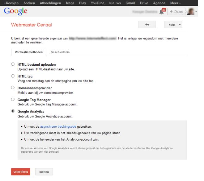 Google search cosnole verificatie