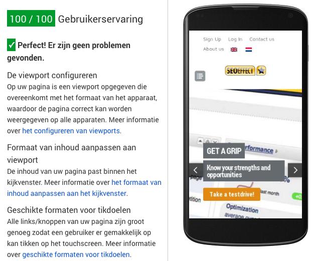 Mobiele gebruikerservaring meet je met Google Page speed insights