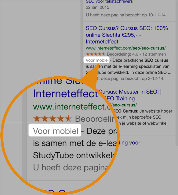 Google search voor mobiel label