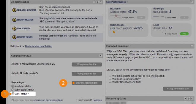 SEO Effect dashboard WMT api status