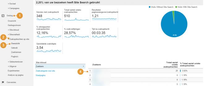 Google Analytics zoekopdrachten