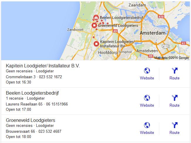 google desktop loodgieter serp kaart
