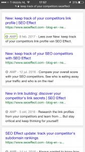 amp resultaat google