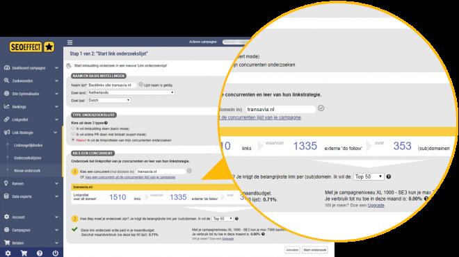 Backlink onderzoek concurrentie detail - SEO Effect