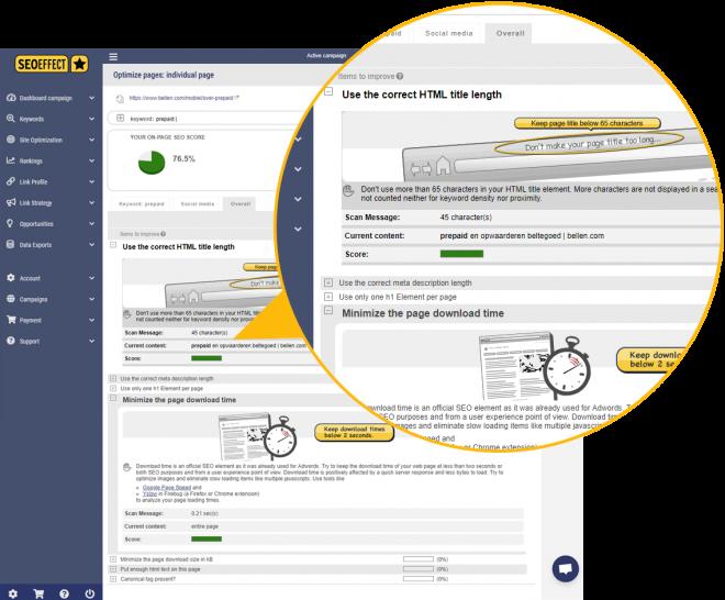 SEO page scan optimalization tool - SEO Effect
