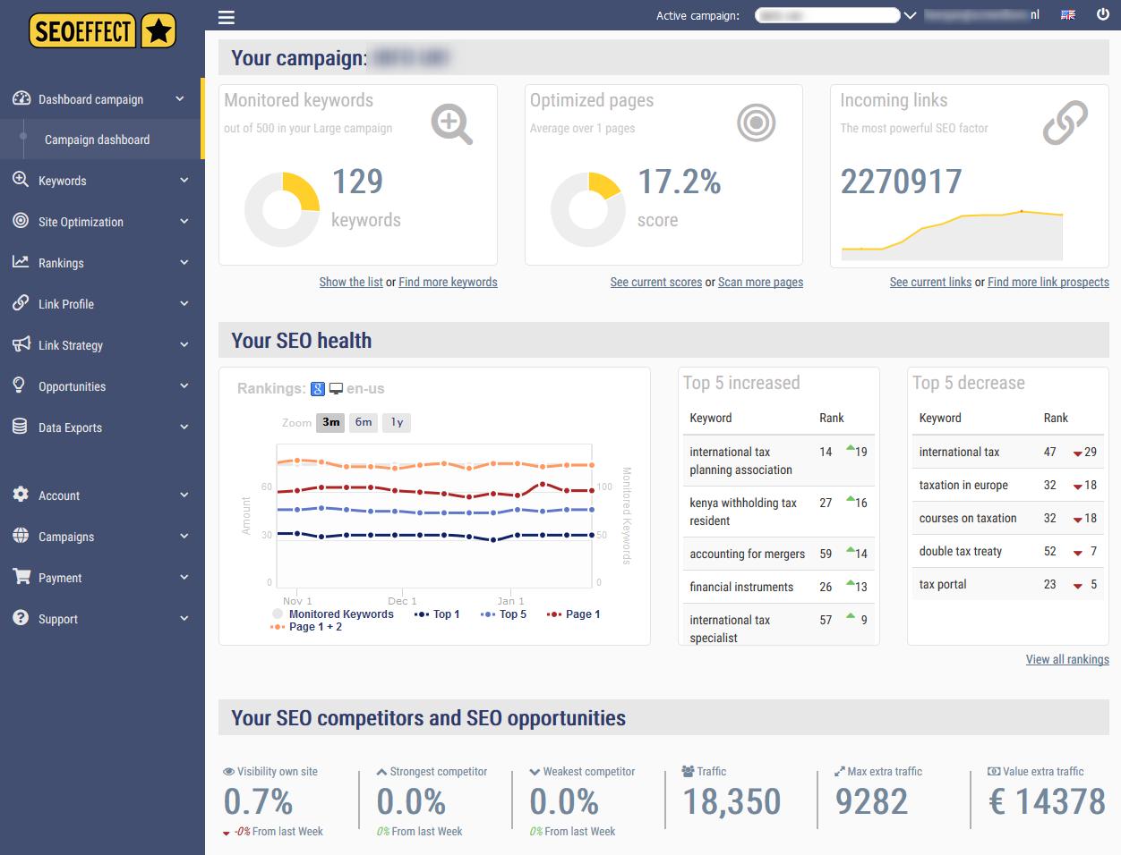 SEO Effect - dashboard