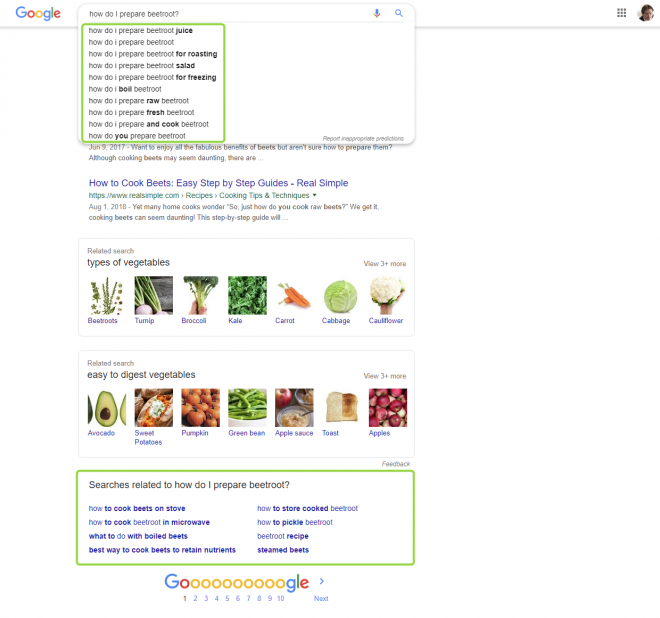 Google autosuggest and related search - how do I prepare beetroot