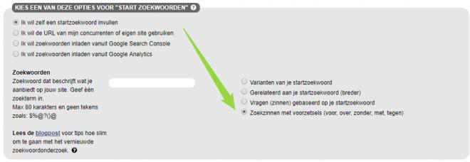 SEO Effect keyword tool - voor zoekwoorden met voorzetsels voor hoge aankoopintentie