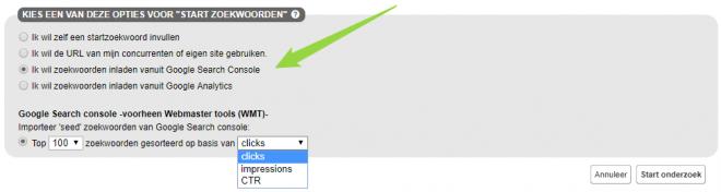 SEO Effect keyword tool - zoekwoorden die zich l bewezen hebben 1-zoekwoorden inladen vanuit Google Search Console