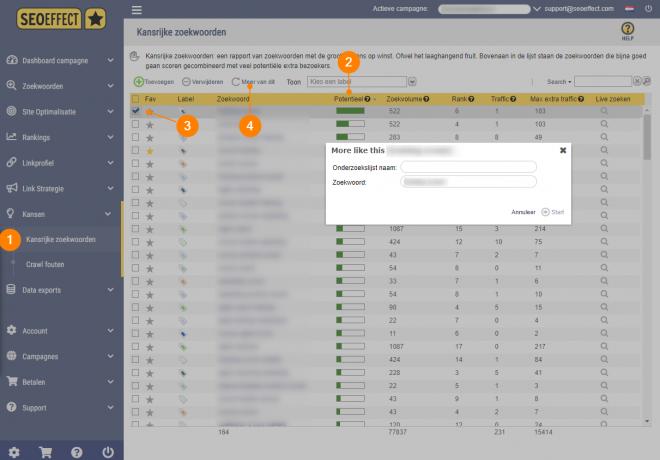 SEO Effect keyword tool - zoekwoorden die zich l bewezen hebben - 2 kansrijke zoekwoorden meer van dit
